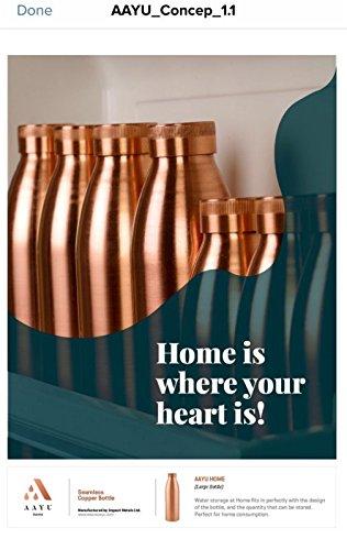 AAYU , Aayu Home Seamless Copper Bottle , 100% Copper Bottle , 800ML - Unnati Enterprises