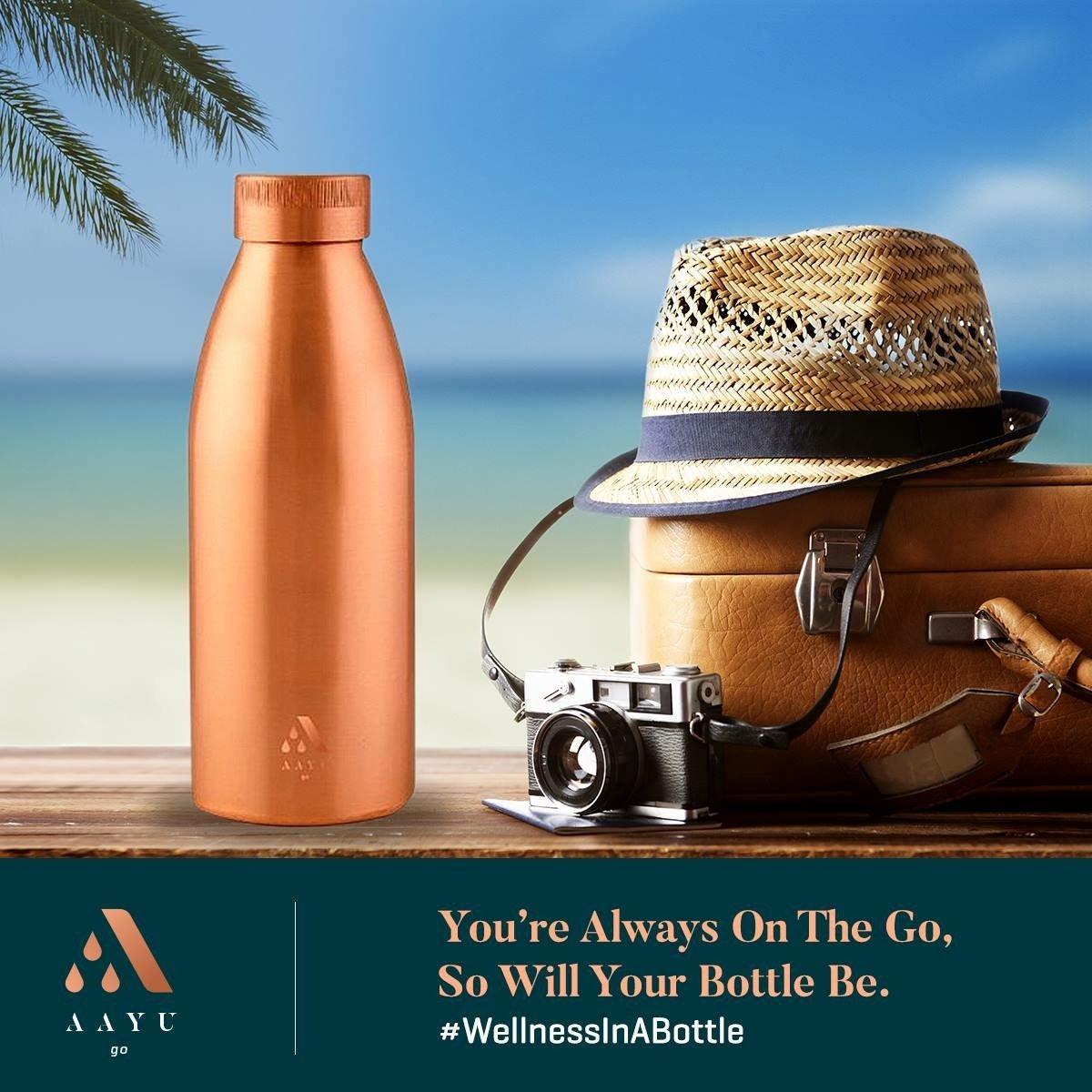 AAYU , Aayu Go Seamless Copper Bottle , 100% Copper Bottle , 500ML - Unnati Enterprises