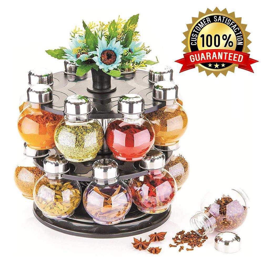 Multipurpose Revolving Plastic Spice Rack Set (16pcs) - Unnati Enterprises