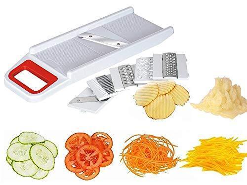 Unnati -  Plastic Kitchen Chopper Non Electric Cutter Mixer with 6 Pieces Slicing Blades, Multicolour, Medium - Unnati Enterprises
