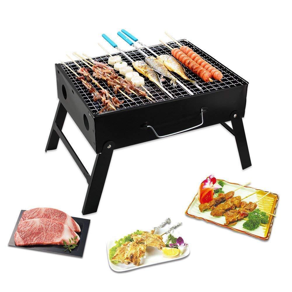 Folding Barbeque Charcoal Grill Oven (Black, Carbon Steel) - Unnati Enterprises