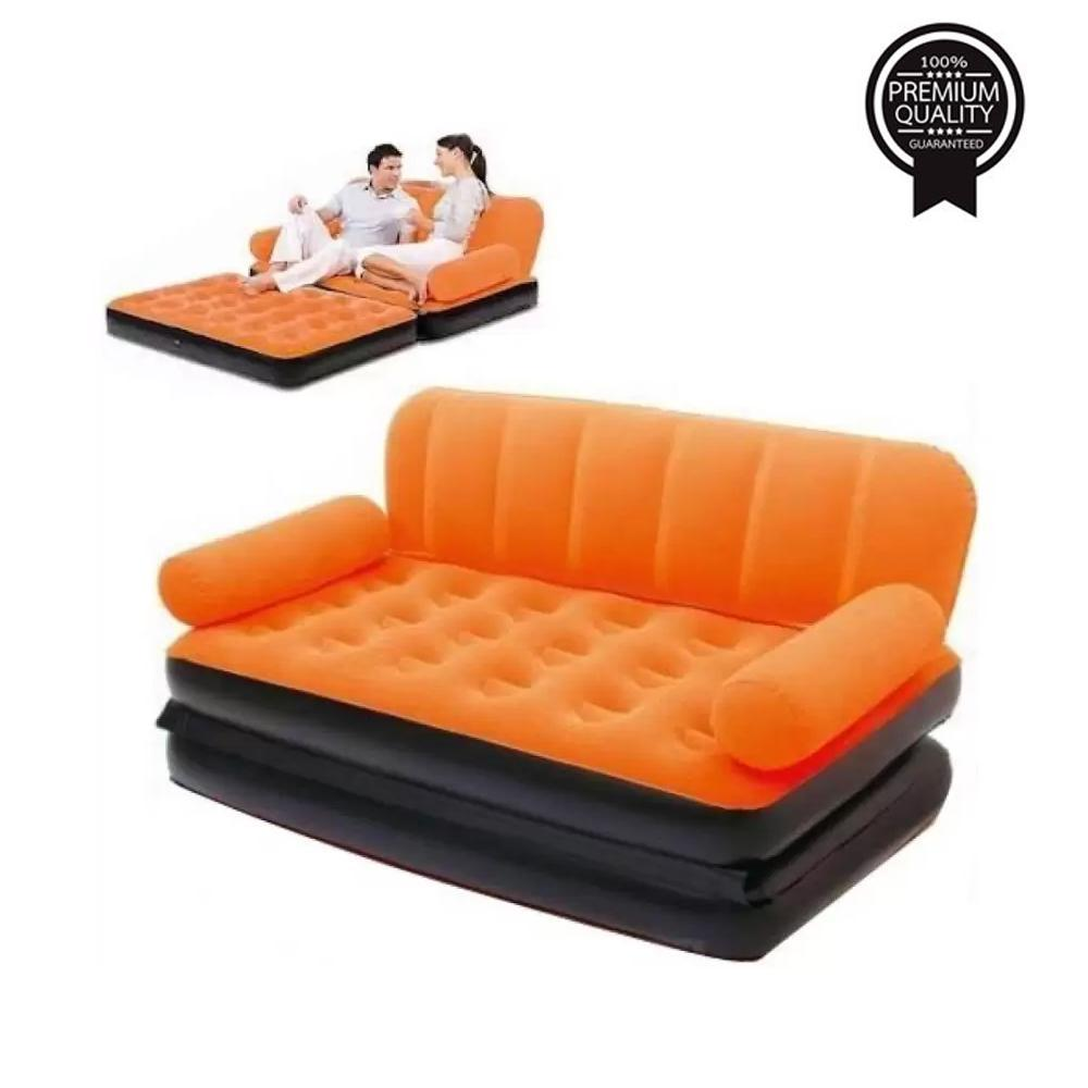 5 in 1 Foldable Inflatable Multi-Function Double Air Bed Sofa Chair Couch Lounger Bed Mattress with Air Pump - Unnati Enterprises