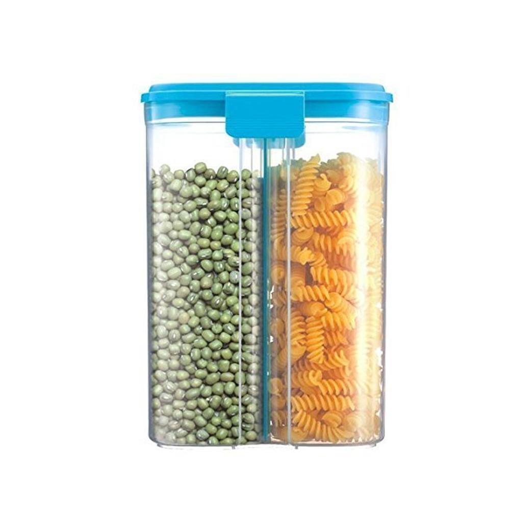 2 in 1 Transparent Sealed Cans/Jars/Storage Box with 2 Grid - Unnati Enterprises