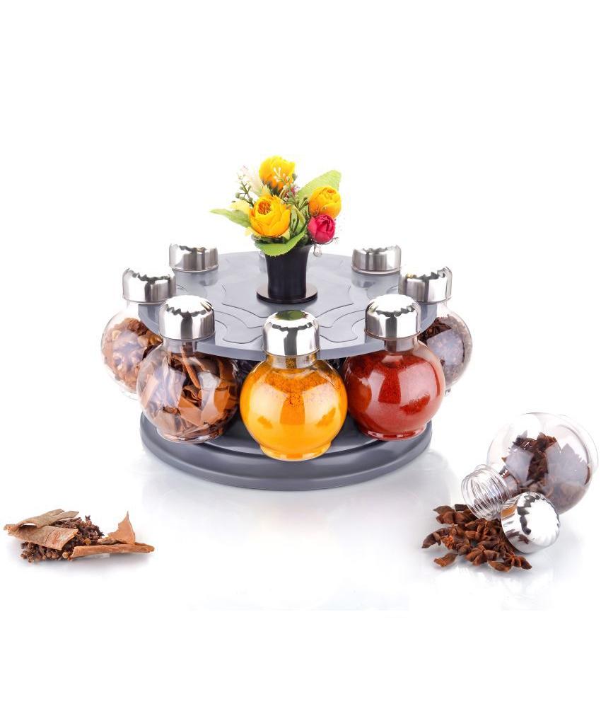 Multipurpose Revolving Plastic Spice Rack Set (8 pcs) - Unnati Enterprises