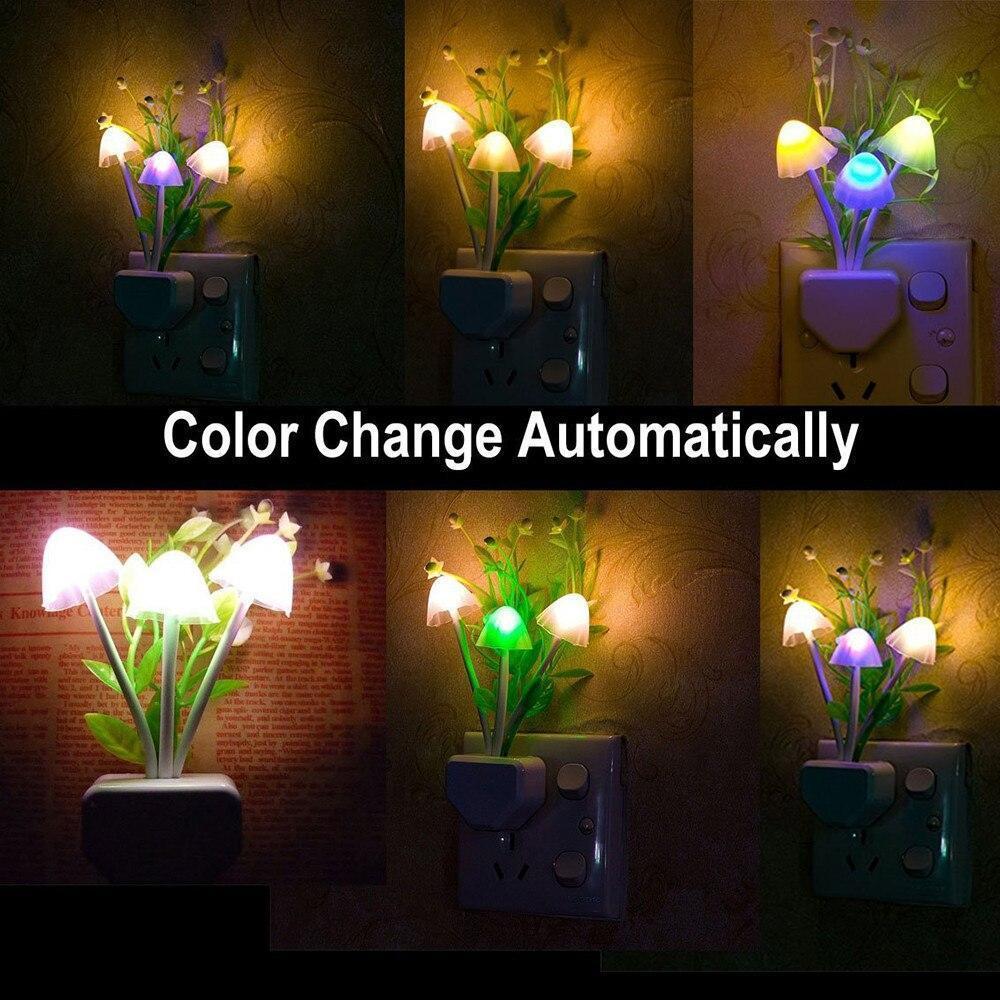 Night Lamps White Flower Pot Color Changing Light & Mushrooms Light Sensor LED Decorative Night Lamp Night Lamp - Unnati Enterprises