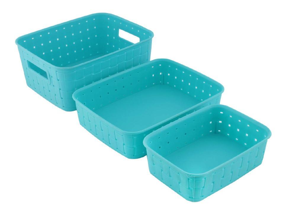Smart Baskets for Storage(Set of 3) Sky Blue - Unnati Enterprises