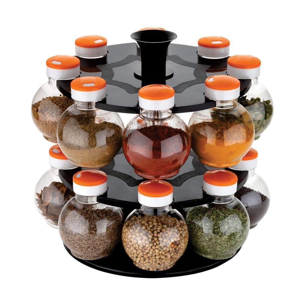 2015_Multipurpose Revolving Plastic Spice Rack Set (16pcs) - Unnati Enterprises