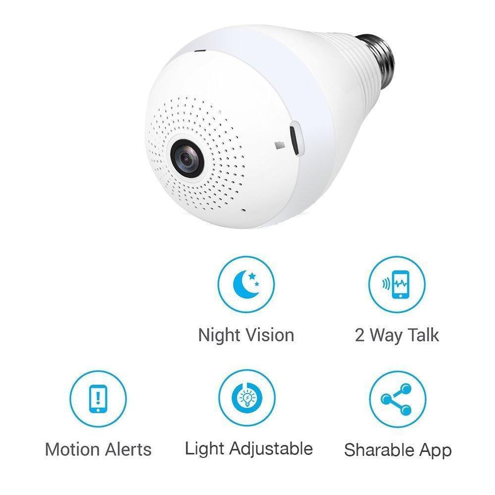 Panoramic Camera Light Bulb (WiFi Wireless Smart spy Bulb) - Unnati Enterprises