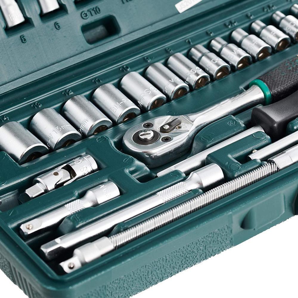 """46pcsMetal 1/4"""" Socket Set (Black, 46pcs) - Unnati Enterprises"""