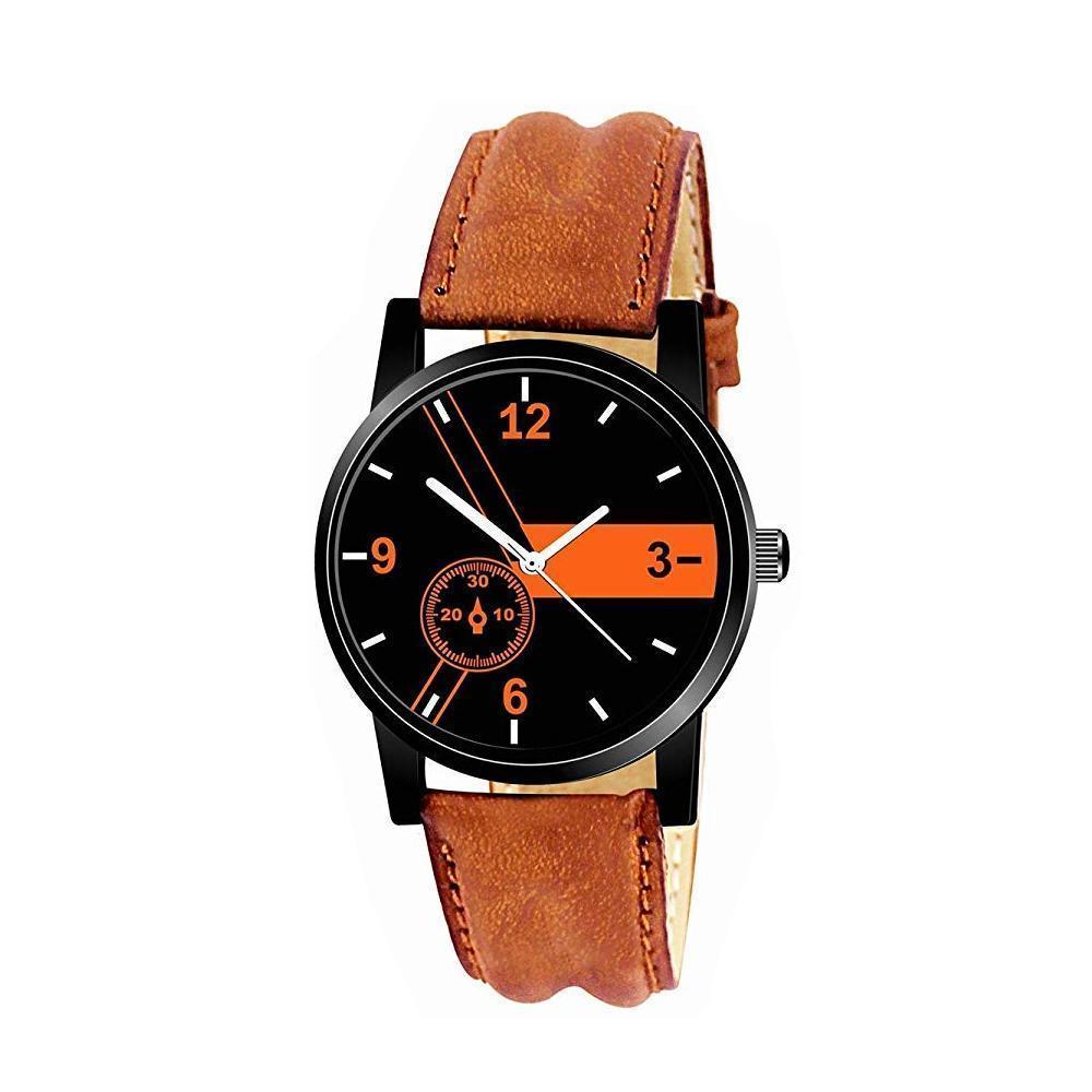 Unique & Premium Analogue Watch Black and Orange Print Multicolour Dial Leather Strap (Watch 11) - Unnati Enterprises