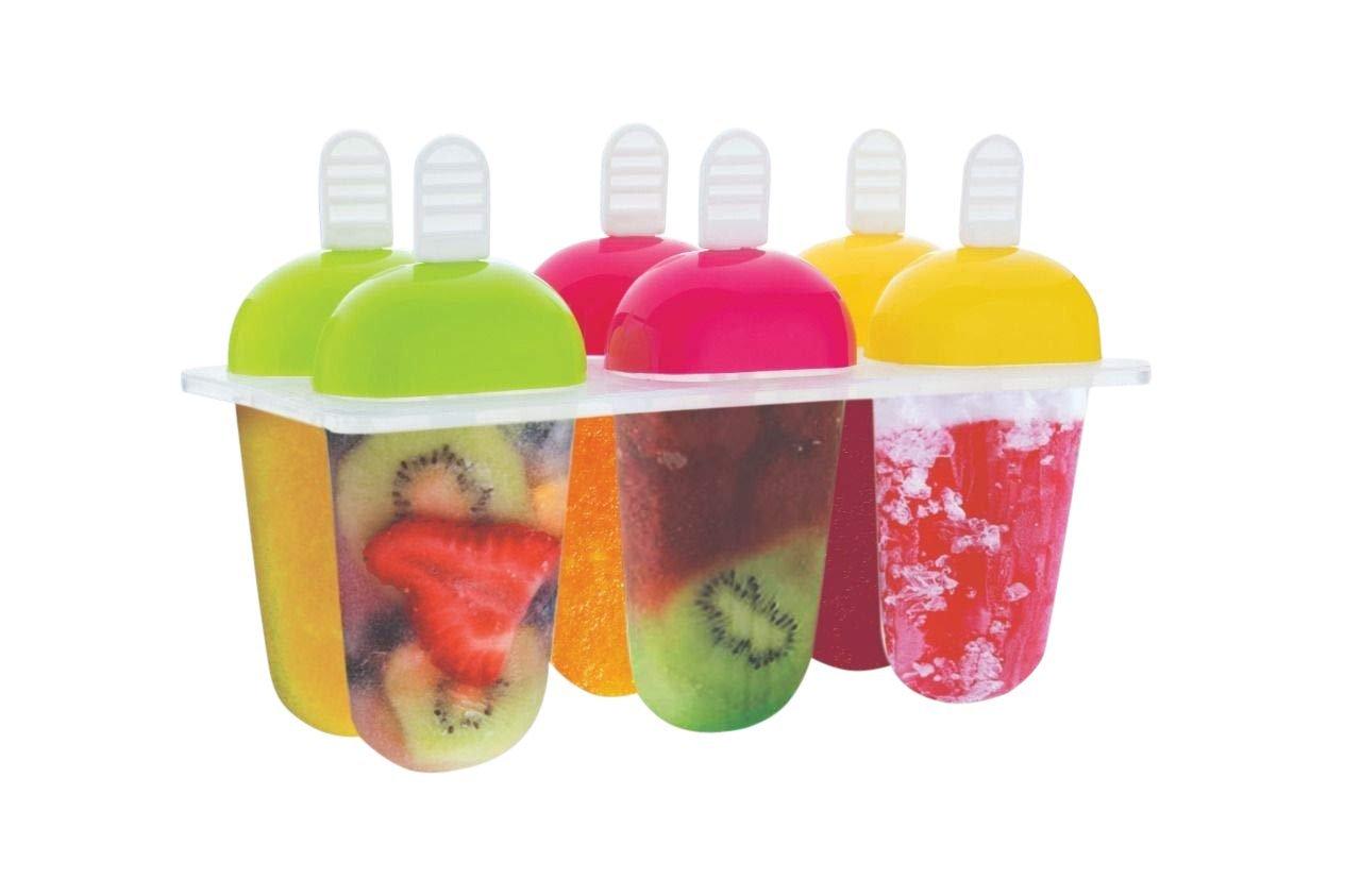 6 Pcs Multicolor Polypropylene Ice Mold, Kulfi Maker/Stick/Cream/Candy Color Assorted - Unnati Enterprises