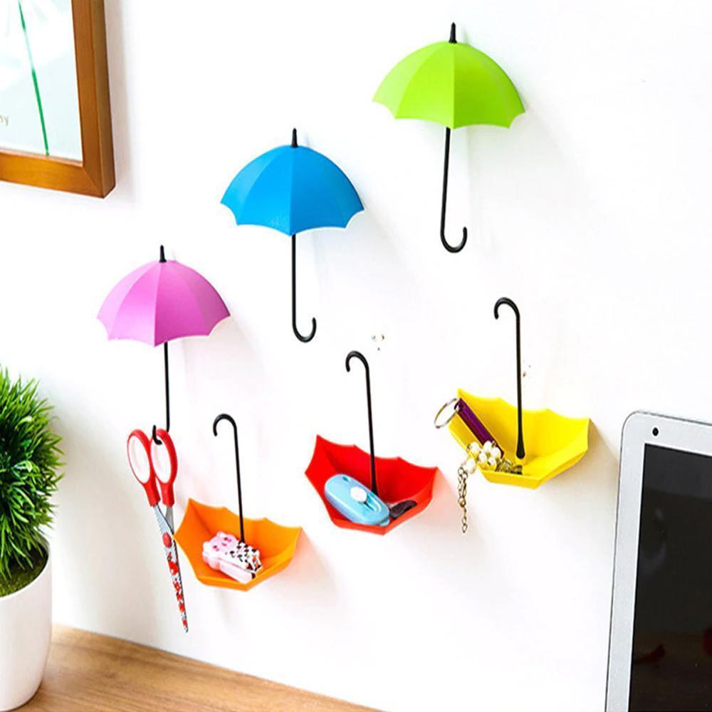 3pcs/set Cute Umbrella Wall Mount Key Holder Wall Hook Hanger Organizer Durable Wall hooks bathroom kitchen Umbrella Wall Hook - Unnati Enterprises