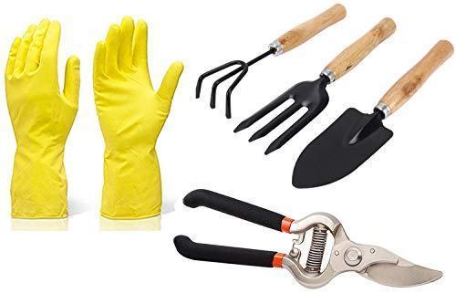 Unnati Enterprises Gardening Tools - Reusable Rubber Gloves, Pruners Scissor(Flower Cutter) & Garden Tool Wooden Handle (3pcs-Hand Cultivator, Small Trowel, Garden Fork) - Unnati Enterprises