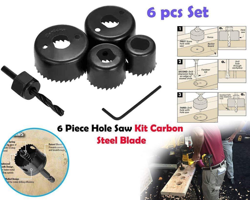 Unnati -  Professional Power Tools Electric Drill Machine 10 mm Drill Bit Cutting Round Circular Cutter 6Pc Hole Saw Set (Multicolour) - Unnati Enterprises