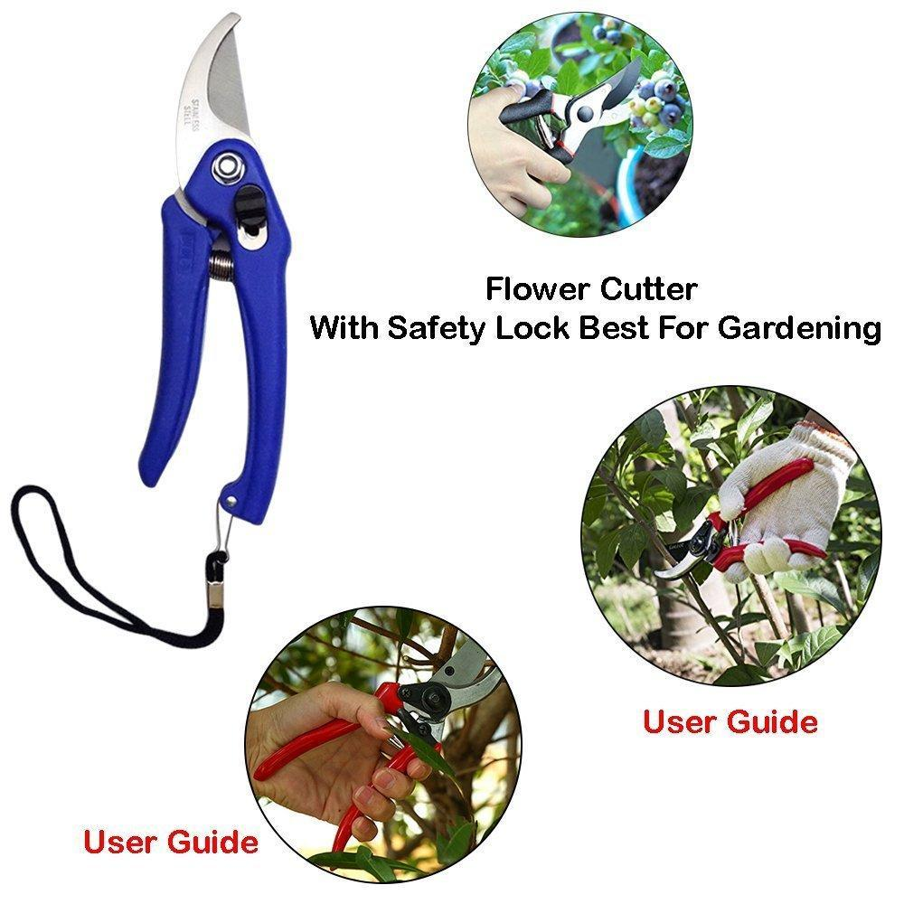 Unnati -  Gardening Tools - Flover Cutter & Garden Tool Wooden Handle (3pcs-Hand Cultivator, Small Trowel, Garden Fork) - Unnati Enterprises