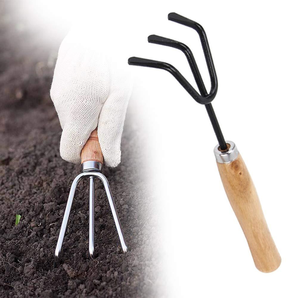 Unnati -  Gardening Tools - Reusable Rubber Gloves, Pruners Scissor(Flower Cutter) & Garden Tool Wooden Handle (3pcs-Hand Cultivator, Small Trowel, Garden Fork) - Unnati Enterprises