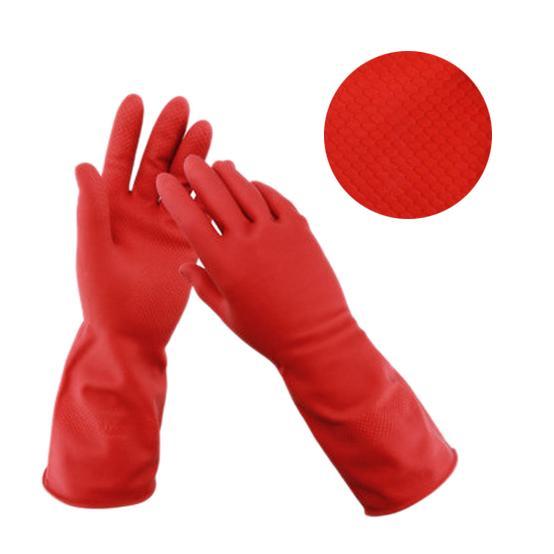 Flock line Reusable Rubber Hand Gloves (Red)1pc - Unnati Enterprises