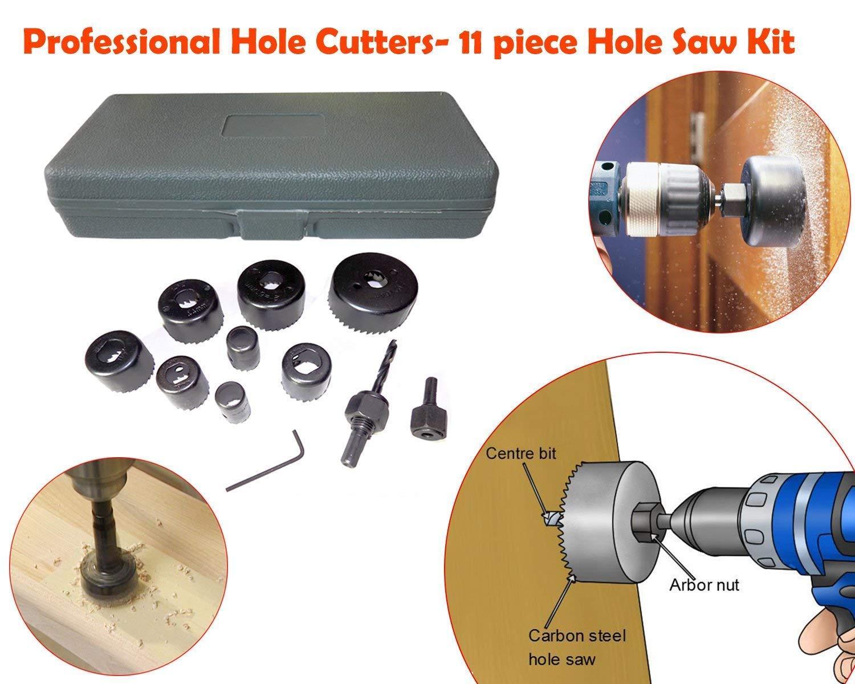 Wood Hole Saw Cutting Set (11 pcs, 19-64mm, Multicolour) - Unnati Enterprises