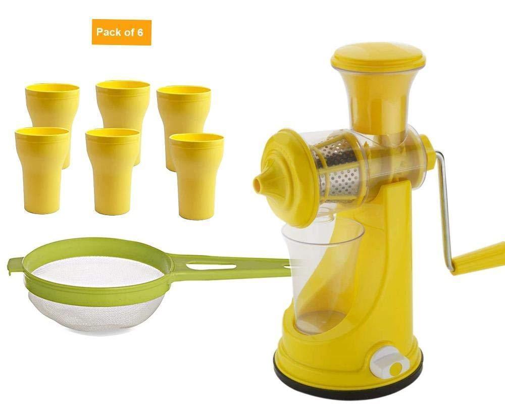 Unnati -  Kitchen combo -Manual Fruit Juicer with Plastic Big Tea Strainer Sieve &  6pcs Plastic Juice Drinking Glasses - Unnati Enterprises