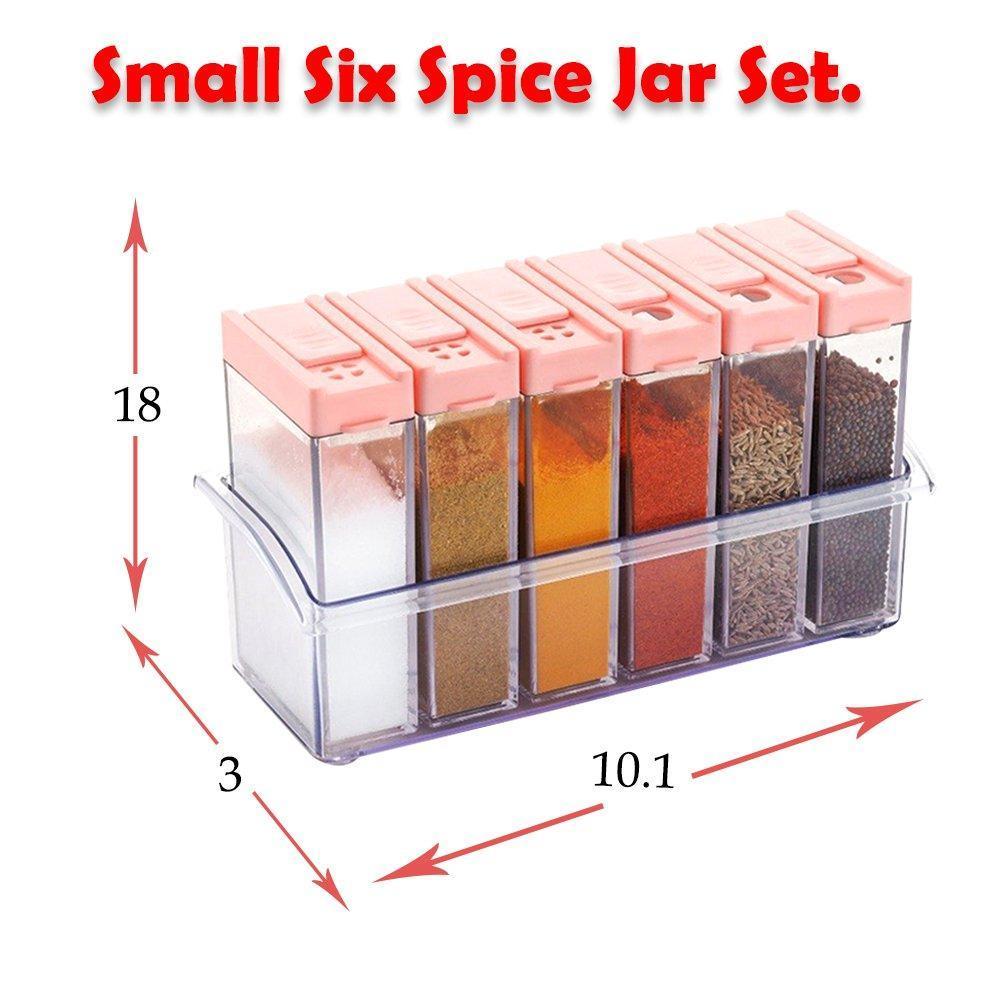 Plastic Spice Jars (6 pcs, 14x22x8cm, Multicolour) - Unnati Enterprises