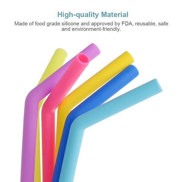 Unnati -  Food Grade Silicone Straws(4pc), Stainless Steel Straws(4pc) & Straw Cleaning Brush(2pc) - Unnati Enterprises
