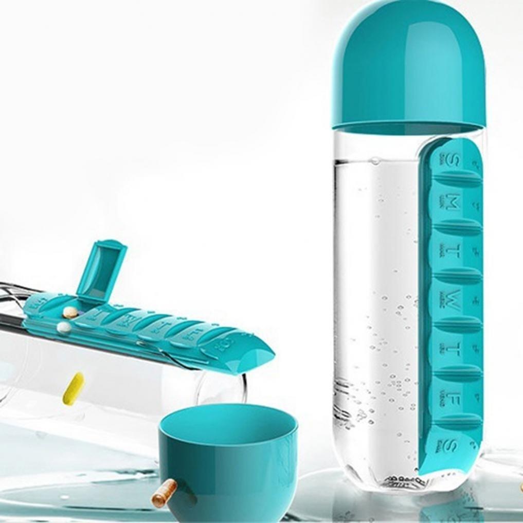 7 Days Pill Tablet Medicine Organizer with Water Bottle 600ml - Unnati Enterprises