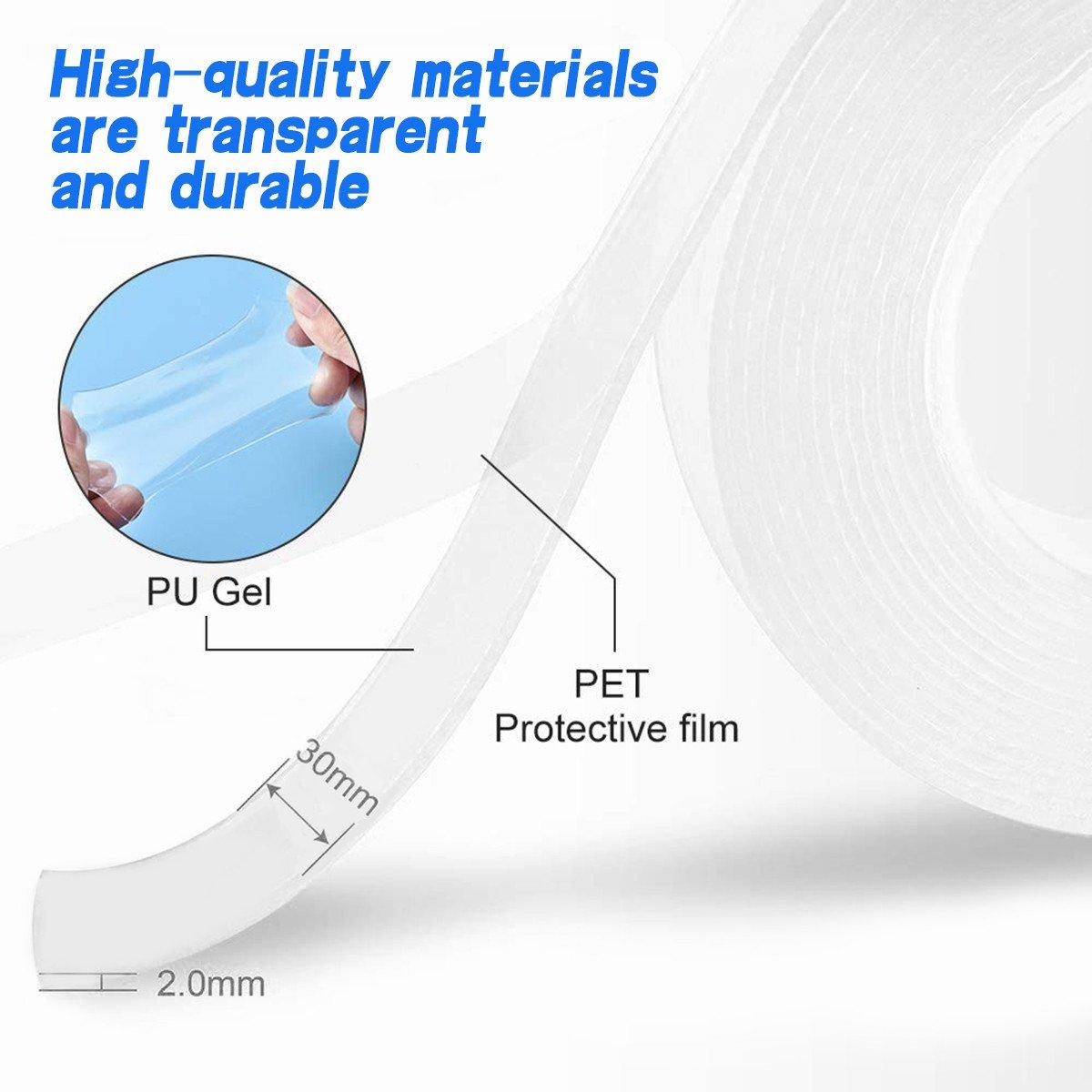 Double Sided Nano Adhesive Tape, 3 meter Washable Traceless Nano Gel Tape, Multipurpose - Unnati Enterprises