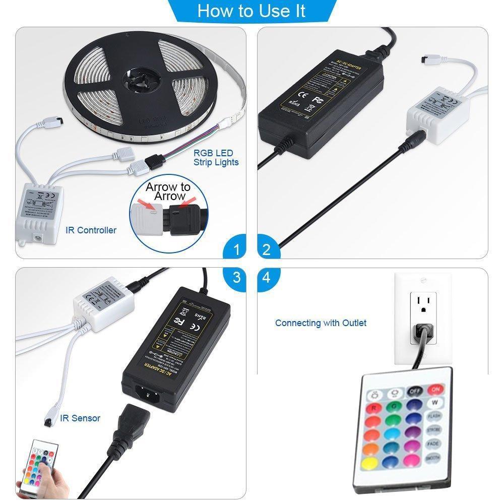 RGB Remote Control LED Strip Light- 16 Colors Changing, Waterproof (5-Meter) - Unnati Enterprises