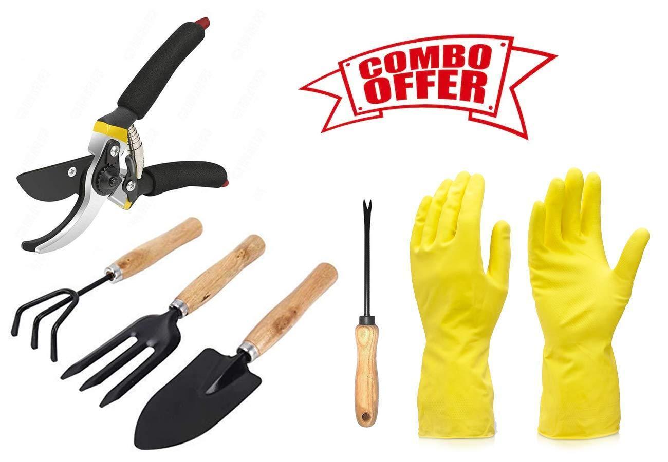 Unnati -  Gardening Combos Tool kit - Hand Cultivator, Small Trowel, Garden Fork, Hand Weeder Straight and Garden Shears Sharp Cutter Pruners Scissor with Gardening Reusable Gloves - Unnati Enterprises