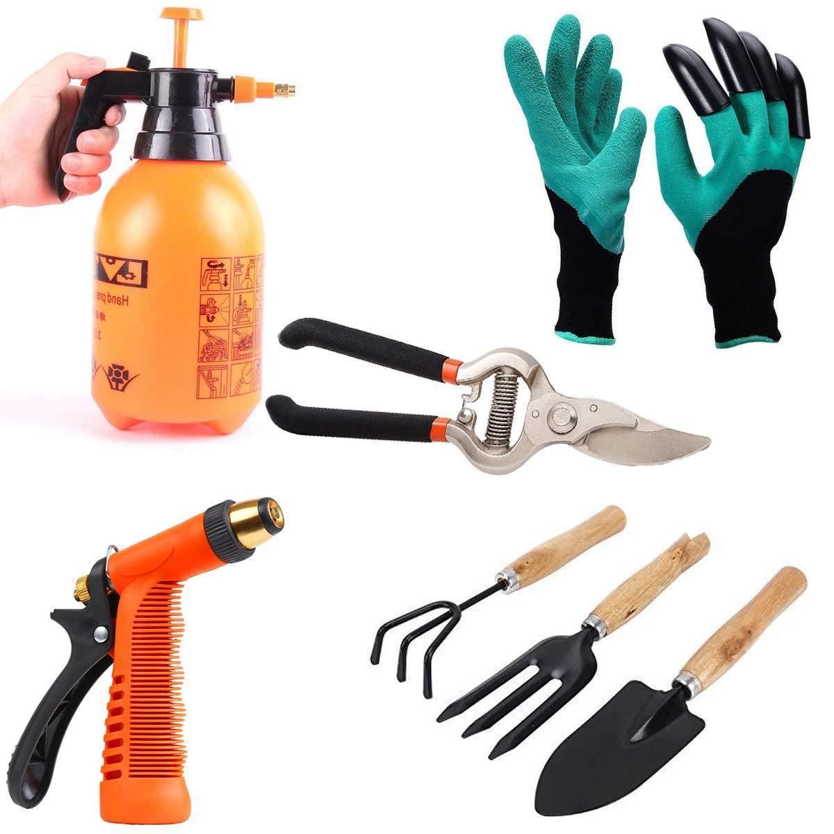 Unnati -  Gardening Tools - Water Lever Spray Gun | Cultivator, Small Trowel, Garden Fork | Pressure Garden Spray Bottle | Genie Gloves | Garden Shears Pruners Scissor (8-inch) - Unnati Enterprises