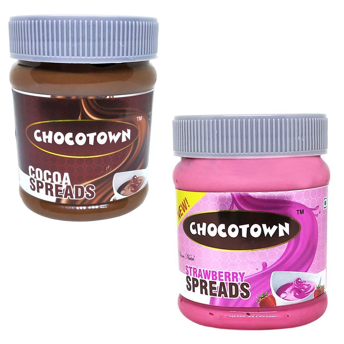 Chocotown Chocolate Spreads - Cocoa Spreads & Strawberry Spreads- 350 gm - Unnati Enterprises