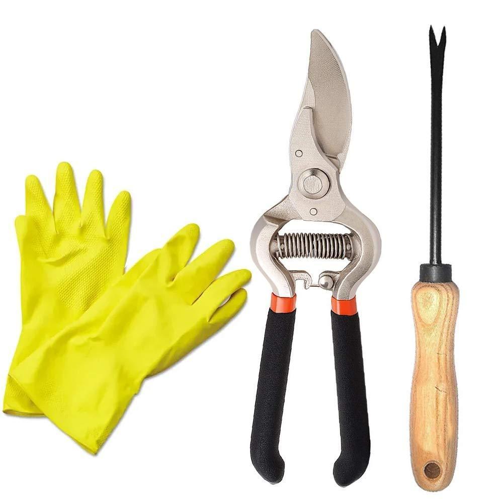 Unnati -  Garden Combo - Garden Shears Pruners Scissor (8-inch) & Hand Weeder Straight with 1-Pair Rubber Gloves - Unnati Enterprises