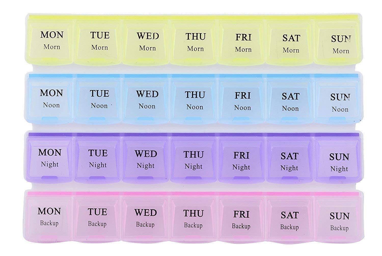 Pill Case- 4 Row 28 Squares Weekly 7 Days Tablet Box Holder Medicine Storage Organizer Container - Unnati Enterprises