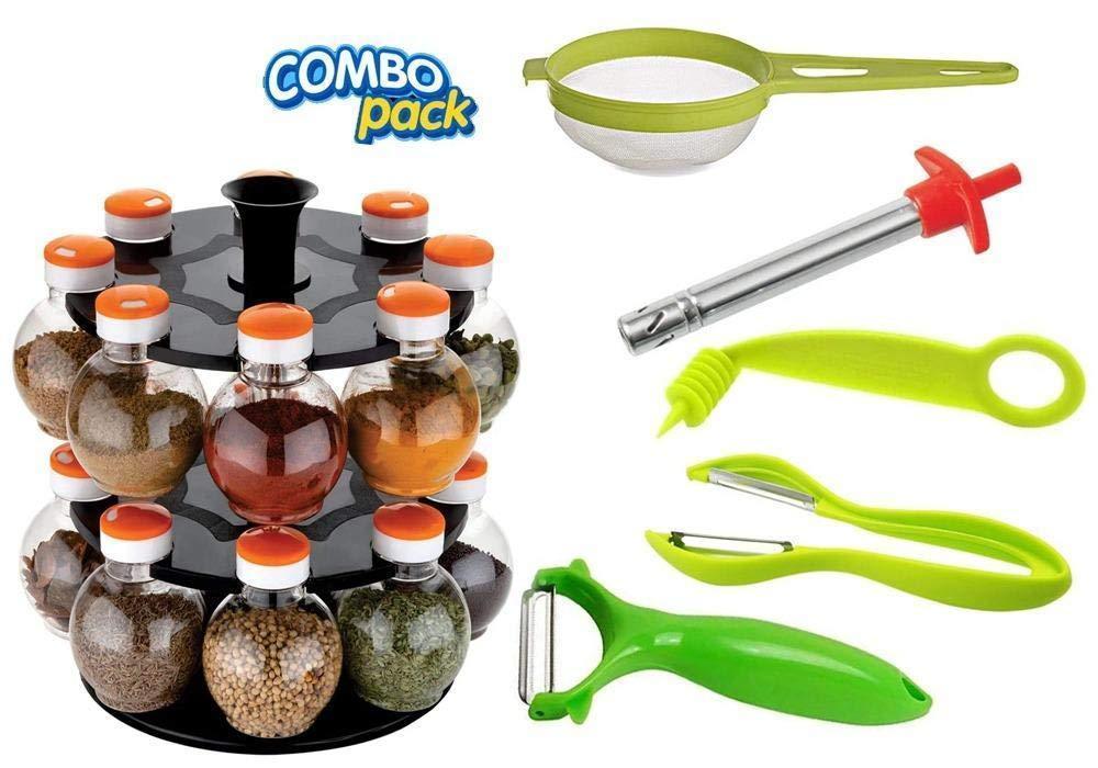 Unnati -  Kitchen combo - Revolving 16pc Plastic Spice Rack, Vegetables Spiral Cutter, Gas Lighter, Big Tea Strainer Sieve/Chai Chalni with Single sided & Double sided peeler (6 pcs) - Unnati Enterprises