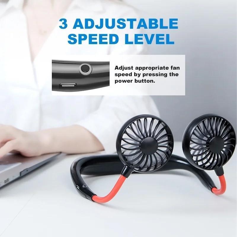Portable USB Battery Rechargeable Mini Fan - Headphone Design Wearable Neckband Fan - Unnati Enterprises