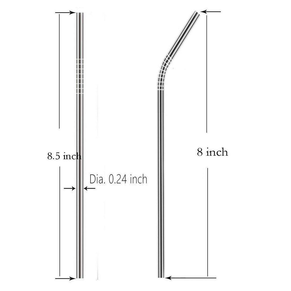 Set of 4 Stainless Steel Straws & Brush (2 Straight straws, 2 Bent straws, 1 Brush) - Unnati Enterprises