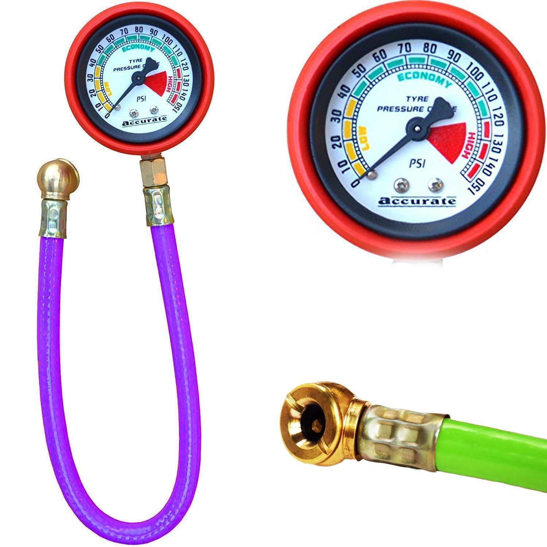 Unnati Vehicle Tools - Heavy Steel Body Foot Pump, Tyre Puncture Plug Repair Kit with Tyre Air Pressure Gauge Hose (3pcs) - Unnati Enterprises