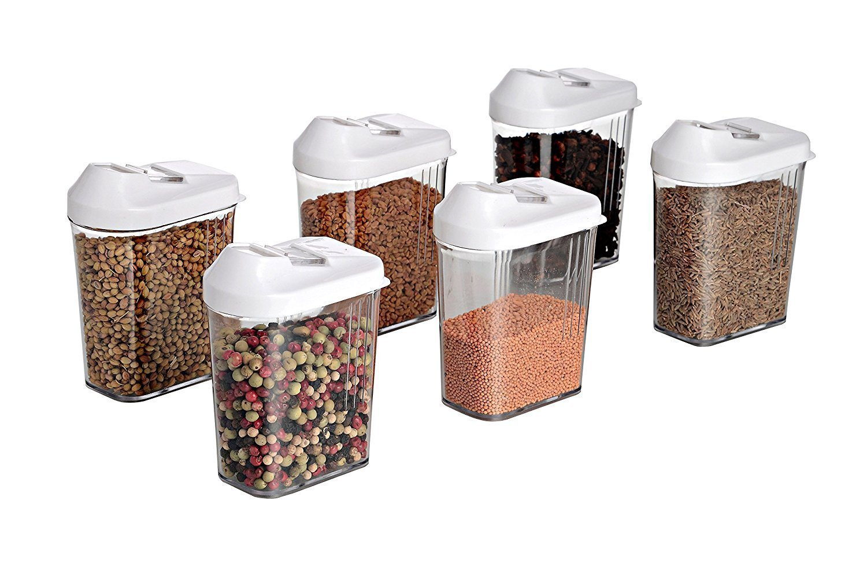 Plastic Easy Flow Storage Jar with Lid (750ml, Set of 6) - Unnati Enterprises
