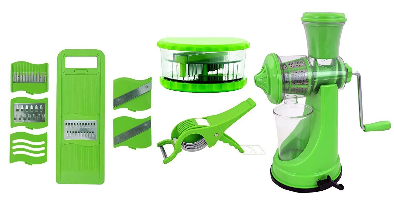 Unnati -  Kitchen Combo - Manual Juicer, 6 in 1 Slicer, Multi Crusher and Veg Cutter with Peeler - Unnati Enterprises