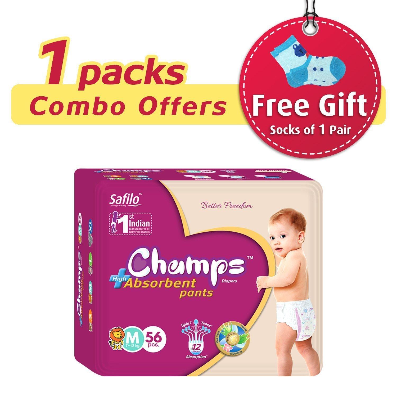 Premium Champs High Absorbent Pant Style Diaper Medium Size, 56 Pieces (953_Medium_56) - Unnati Enterprises