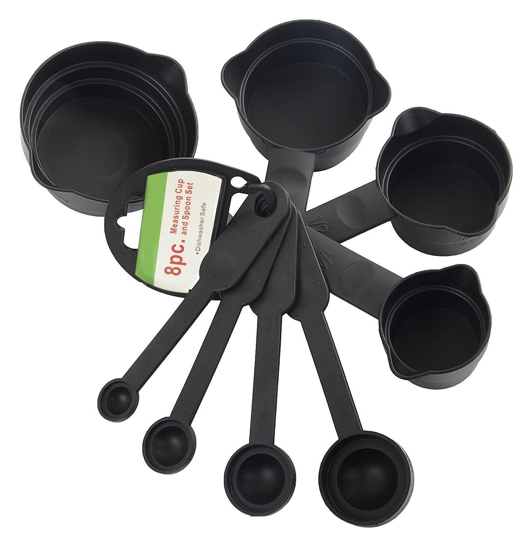 Plastic Measuring Cups and Spoons (8 Pcs, Black) - Unnati Enterprises