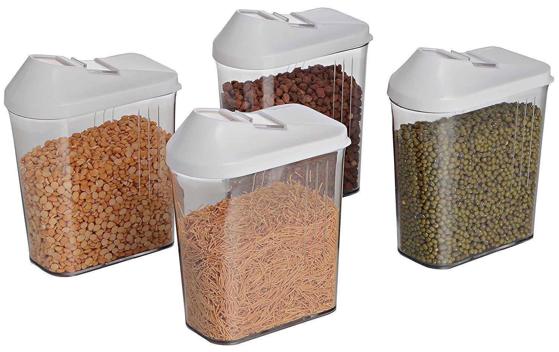 Unnati -  Cereal Dispenser Easy Flow Storage Jar 750 ml 12 Pcs Set, Plastic, 10 in, White - Unnati Enterprises