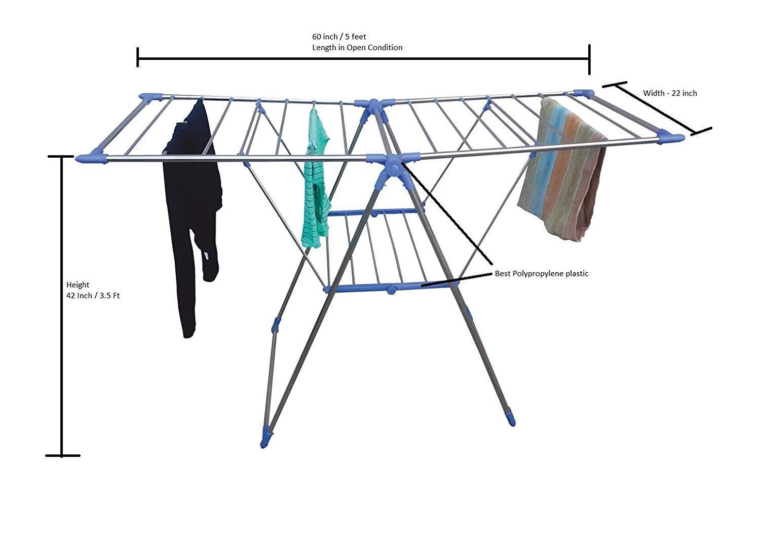 Adjustable Stainless Steel 2-Wings Foldable Butterfly Cloth Drying Stand/Rack - Unnati Enterprises