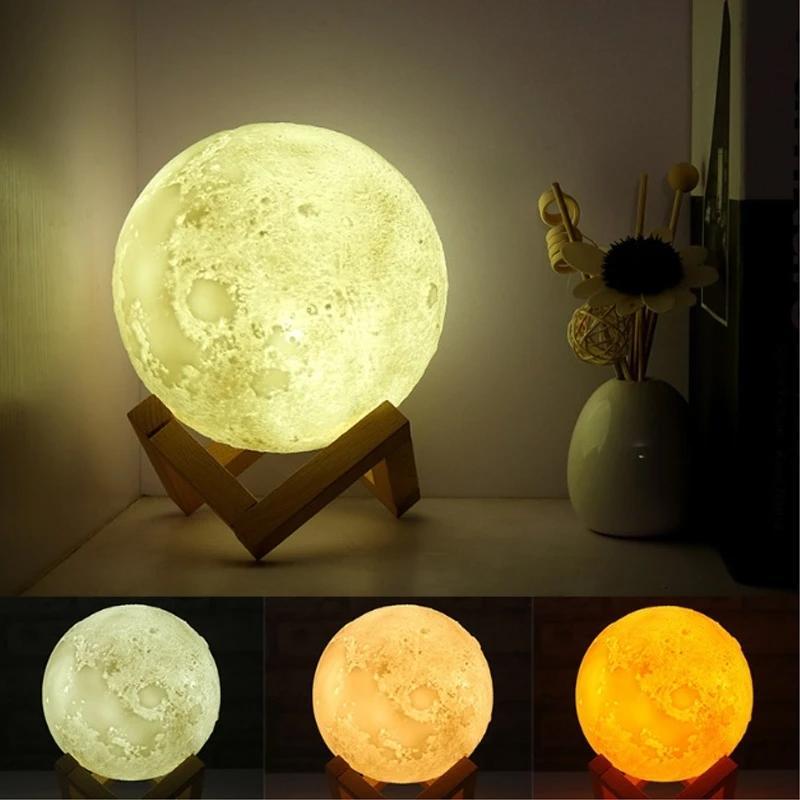 3D Moon Lamp India/Moon Shaped Lamp/Led Moon Lamp/Lunar Moonlight Lamp - Multi Color - Unnati Enterprises