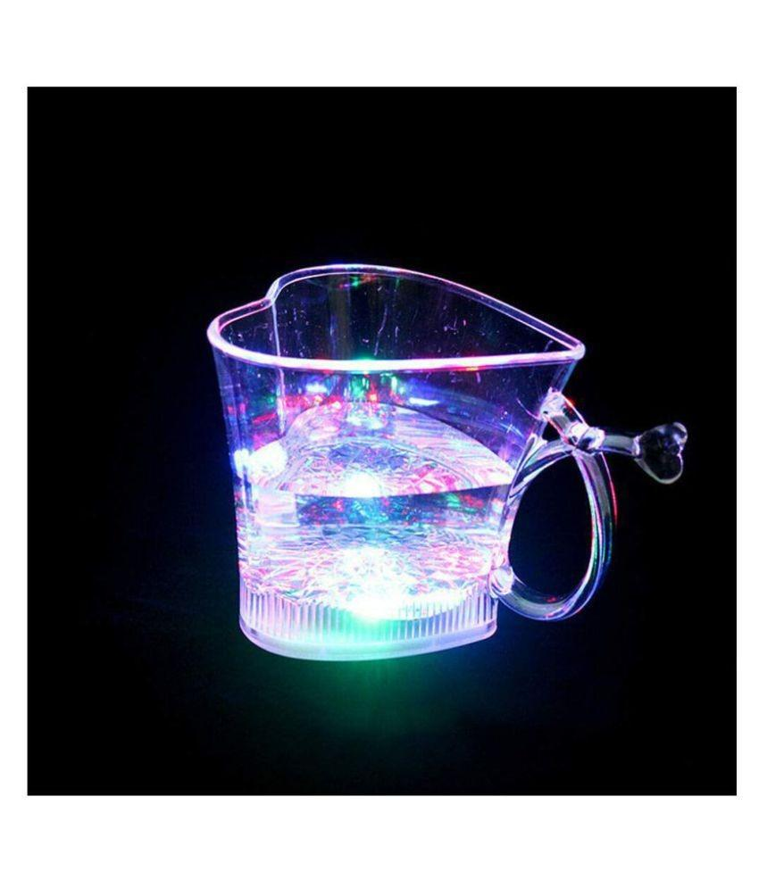 Heart Shape Activated Blinking Led Glass Cup - Unnati Enterprises