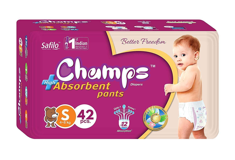 Premium Champs High Absorbent Pant Style Diaper Small Size, 42 Pieces (950_Small_42) - Unnati Enterprises