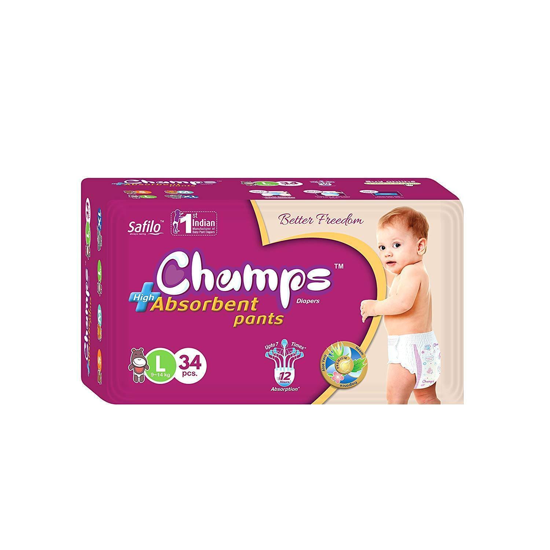 Premium Champs High Absorbent Pant Style Diaper Large Size, 34 Pieces (954_Large_34) - Unnati Enterprises