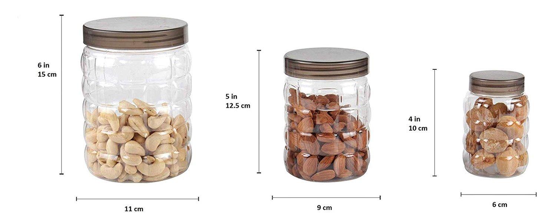 3pcs Stone Jars Set (Big 1200ml, Medium 600ml & Small 250ml size) - Unnati Enterprises