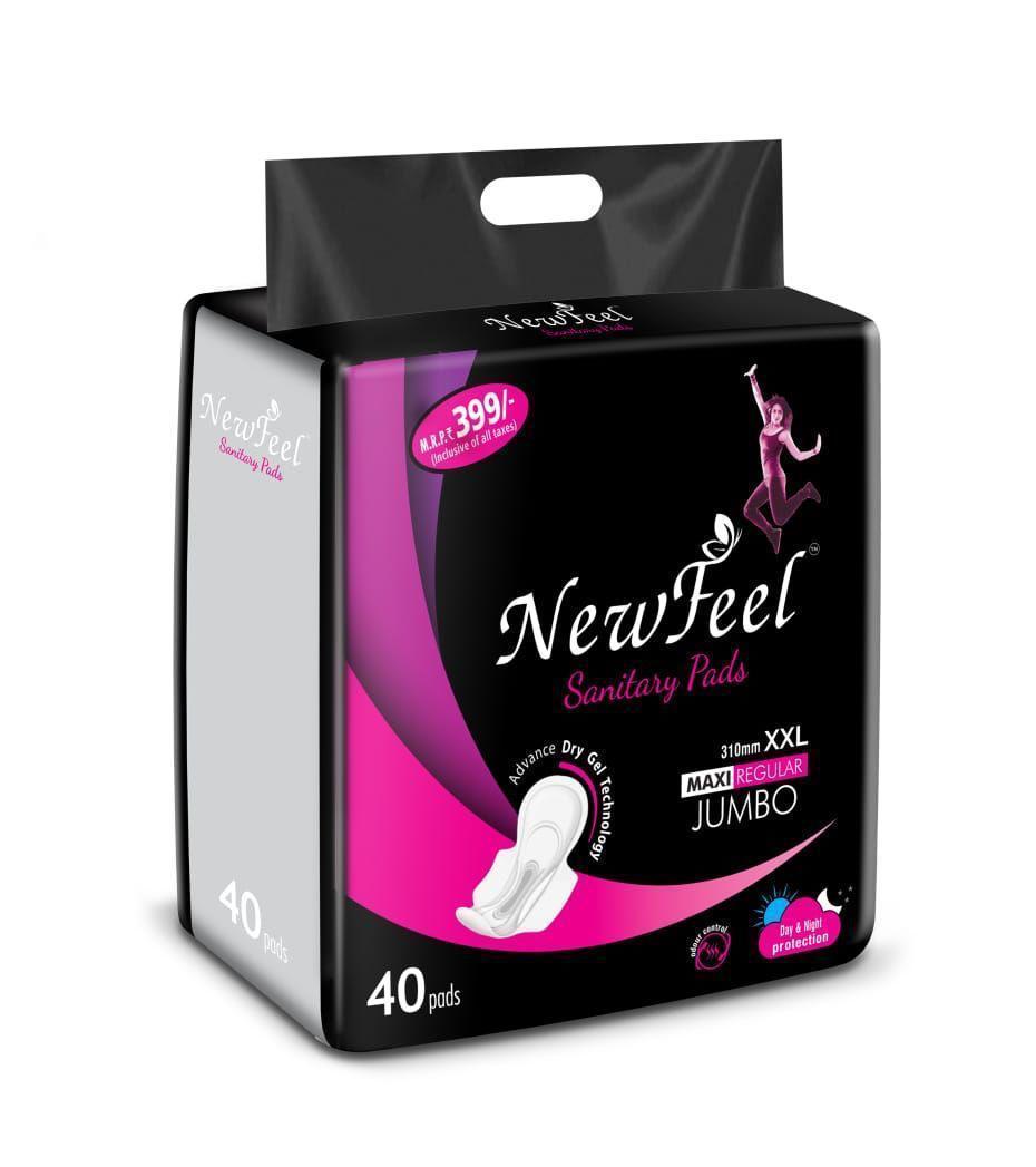 354 New Feel Sanitary Pad 310 mm XXL maxi Regular Jumbo - 40pads - Unnati Enterprises