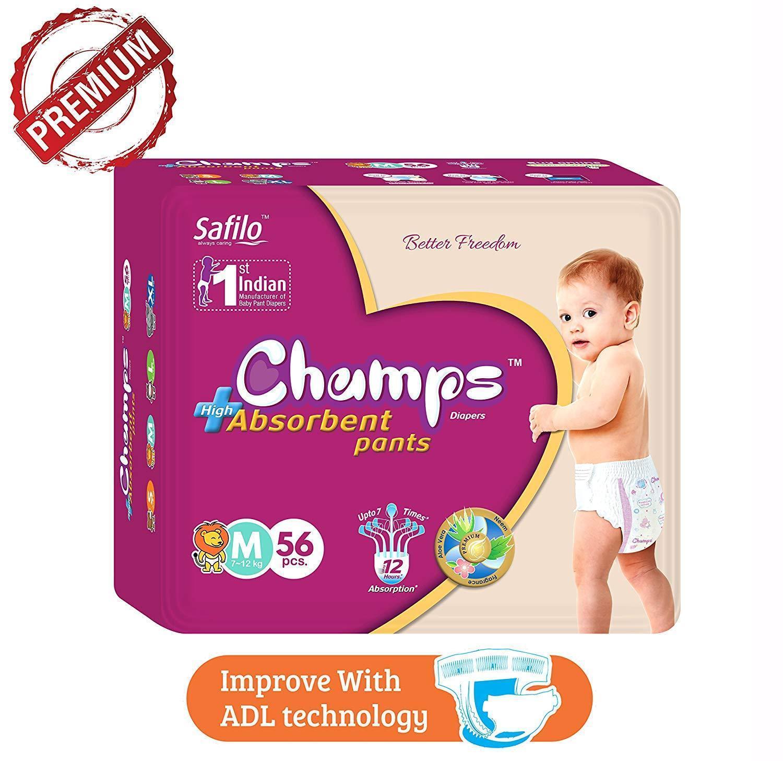Premium Champs High Absorbent Pant Style Diaper Medium Size, 40 Pieces (952_Medium_40) - Unnati Enterprises